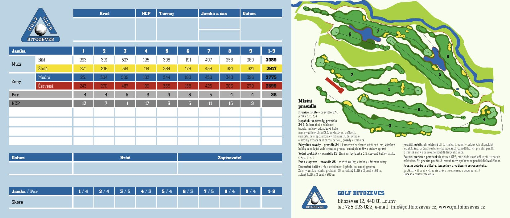 Golf Bítozeves - scorecard